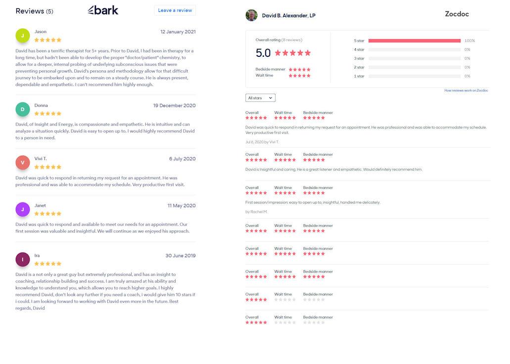 Reviews on Bark.com and Zocdoc.com