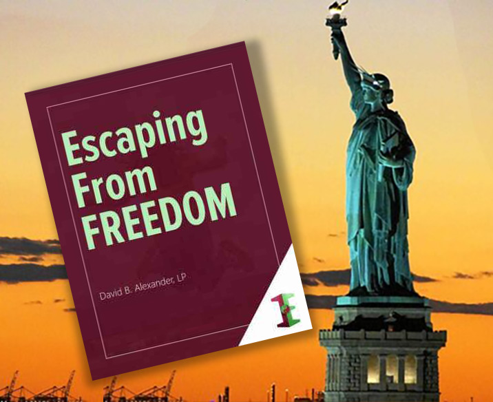 Escaping From Freedom ebook cover, along with Statue of Liberty against sunset